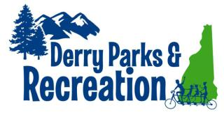 Derry Parks and Recreation Logo with tree, mountain, New Hampshire, and biking family