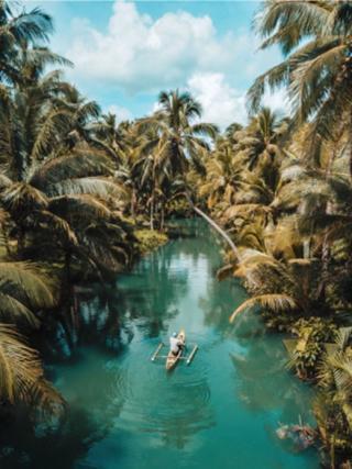 kayaking down a tropical waterway