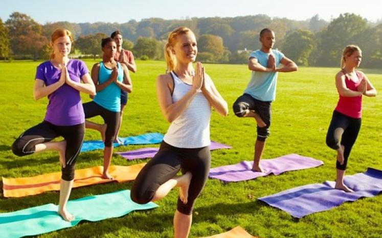 Outdoor Yoga and mat work in the park free stock photo
