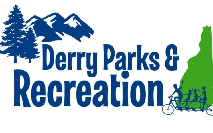 Derry Parks & Recreation Logo with blue trees, mountains, bikers, and green New Hampshire state