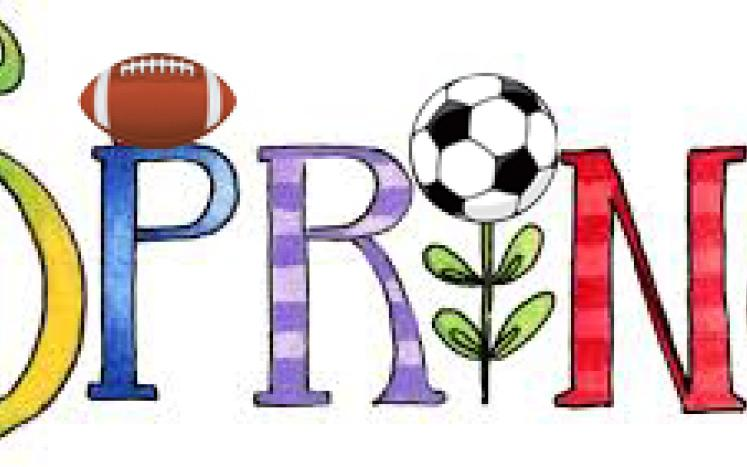The word Spring with sports balls around it including a football, soccer, basketball.
